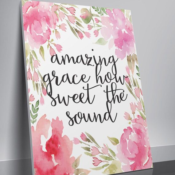 Bible Verse Print Printable Watercolor Wall by TwoBrushesDesigns
