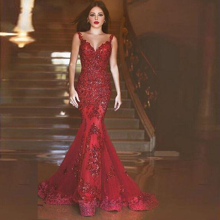 71329eab18b Pas cher Rouge sirène robes Robe De soirée 2016 nouvelle arrivée robes  formelles Glamorous Backless Appliques ...