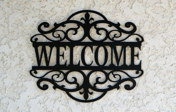 Welcome Metal Sign  Custom metal Name sign by CandGMetalArt