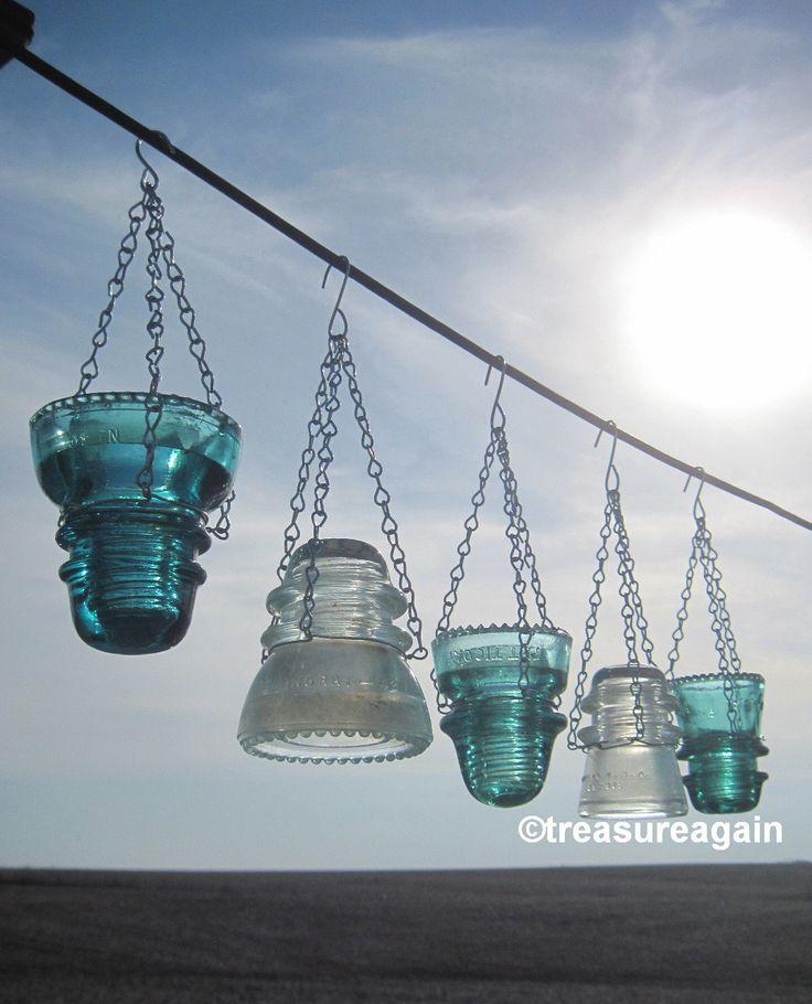 DIY Insulator Hanger Lantern Tea Light Holder, Outdoor Hanging Lanterns, or Recycled Garden Decor, Hangers Only by treasureagain