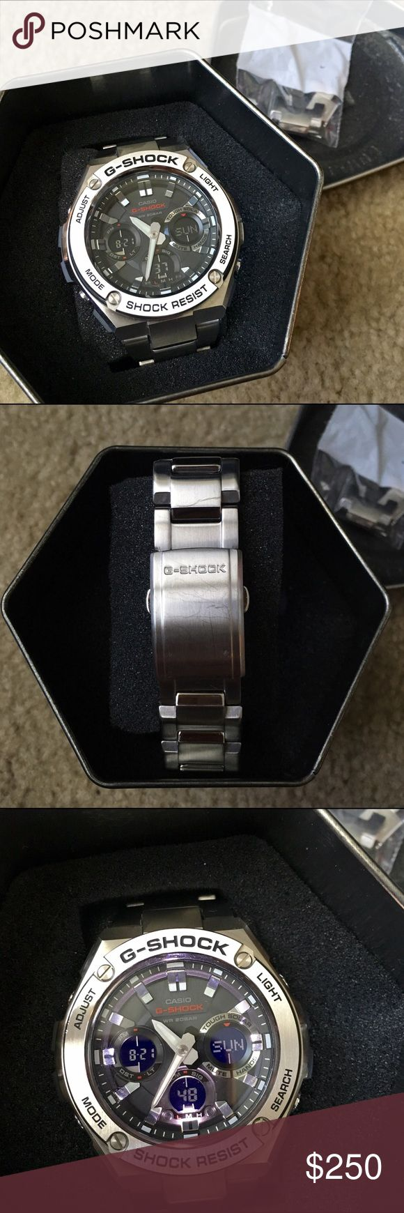 G-SHOCK Stainless Steel Watch My boyfriends watch -- barely used. Has some minor scratches from use (pictures above). Feel free to ask questions if any! Price includes watch with case, original box, booklet & warranty. G-Shock Accessories Watches
