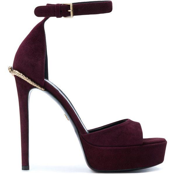 Roberto Cavalli platform sandals (4.960 DKK) ❤ liked on Polyvore featuring shoes, sandals, purple sandals, pink sandals, pink leather sandals, purple leather shoes and purple platform shoes