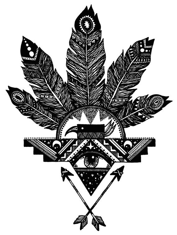 Thunderbird Feather Print. (I would only want the bird & arrows, maybe for a chest tattoo and i like the all black color.