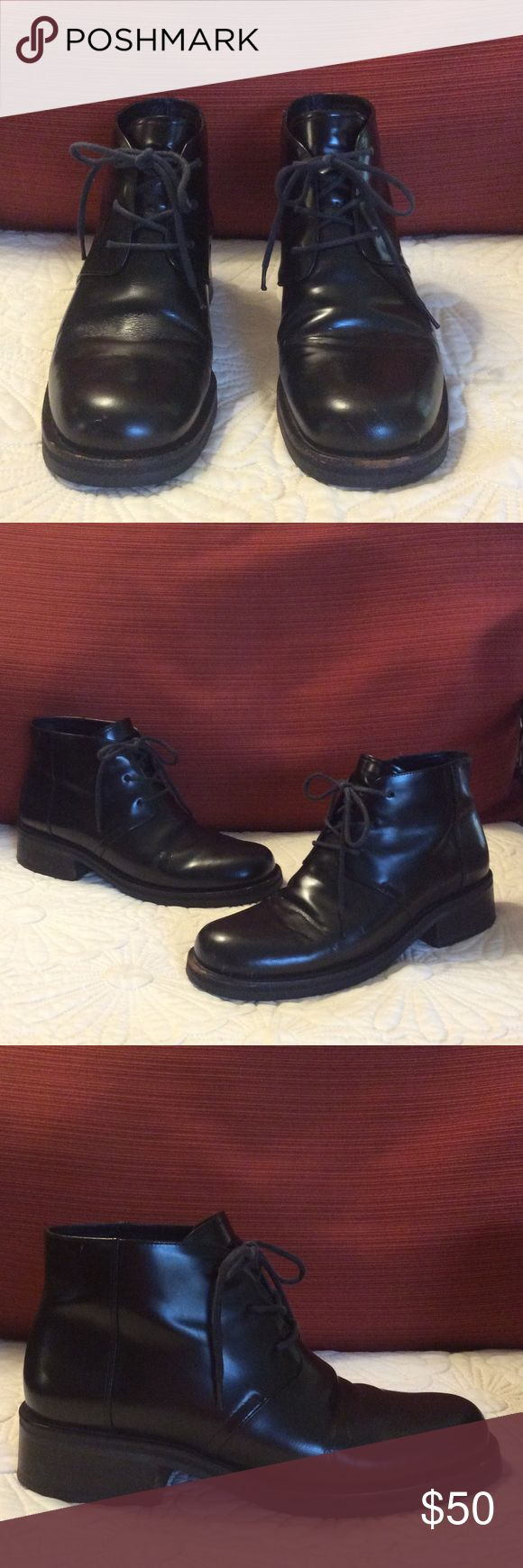 Vintage Cole Haan Leather Lace Up Ankle Boots Previously owned Cole Haan Boots Size 6.5 B still in good condition. Has scuff marks near the toe area. Bottom soles are in very good condition. Cole Haan Shoes Ankle Boots & Booties