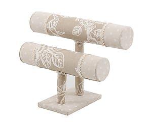 Soporte para pulseras de madera y tejido
