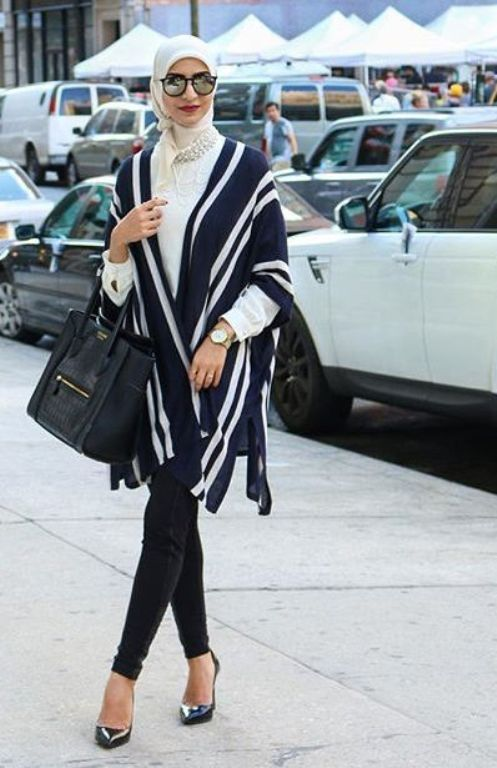 Pinned via Nuriyah O. Martinez | classy poncho hijab outfit, pants should be looser though