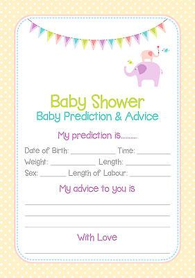 Baby Shower Prediction Cards/Game Unisex/Neutral Design x 10[Yes]