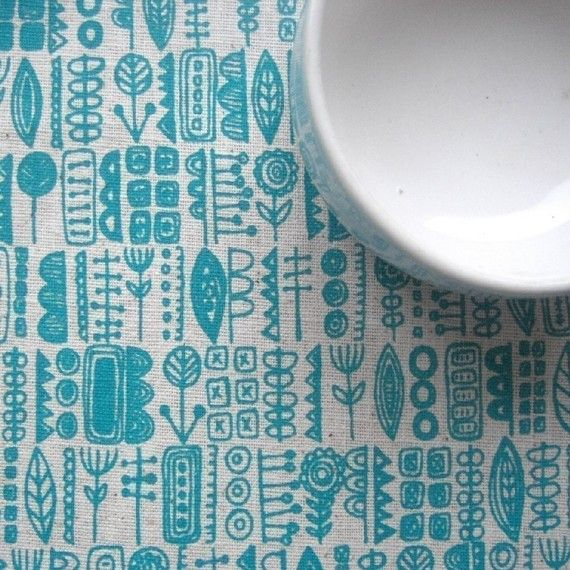 tangle screenprinted fabric by summersville on Etsy