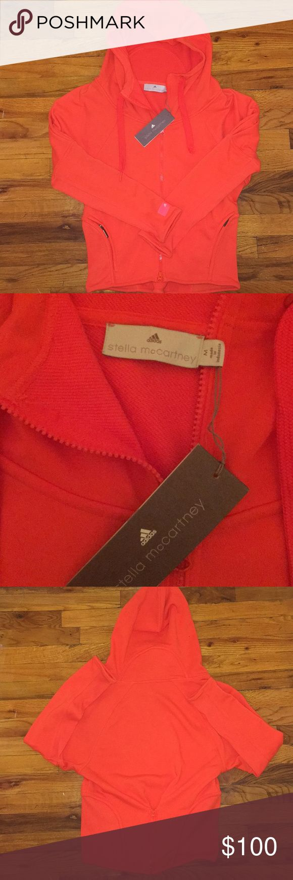 NWT Stella McCartney Adidas Orange Zip Up size M NWT Stella McCartney Adidas Orange Zip Up Hoodie, Size Medium Adidas by Stella McCartney Tops Sweatshirts & Hoodies