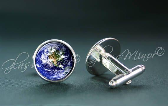 Earth World Planet Cufflinks, Galaxy Groomsmen Usher Cufflinks Wedding Cufflinks Universe Cosmos Solar System Outerspace Lovers Gift
