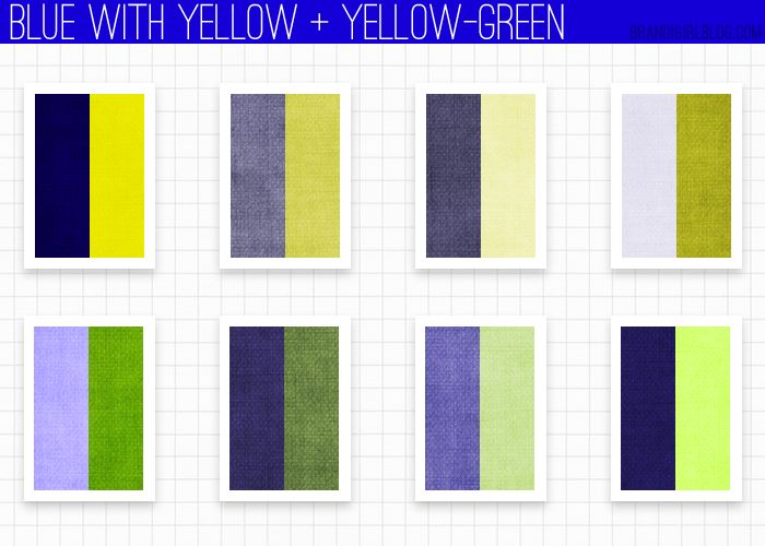 Using blue yellow and yellow green color combos for Blue and yellow paint combinations