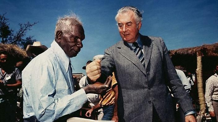 The powerful image you see depicted here is of two great but different leaders, Vincent Lingiari, a fiercely, proud and respected Gurindji man from Daguragu, Wattie Creek Station, in the Northern Territory and Gough Whitlam, the 21st Prime Minister of Australia is one of the iconic images that make up the opening credits of The Point with Stan Grant.