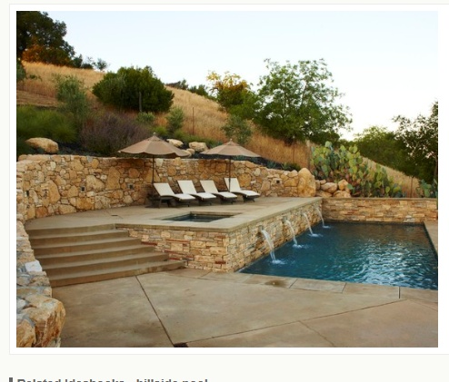 i like the hillside wall and upper deck on this pool
