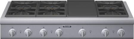 """PCG486GD 48"""" Professional Series Gas Rangetop With 6 Patented Star Burners Electric Griddle 18000 BTUs Per Burner ExtraLow QuickClean Base And Fastest Time To Boil: Stainless Steel"""