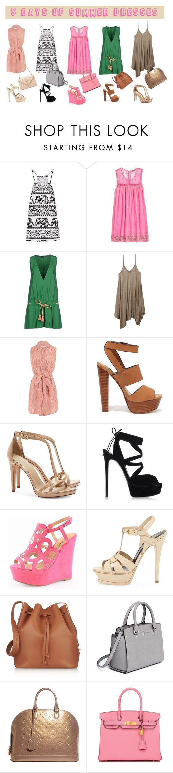 """""""5 Days of Summer Dresses"""" by mara-petcana ❤ liked on Polyvore featuring Calypso St. Barth, Dsquared2, Wet Seal, Equipment, Steve Madden, Tory Burch, Casadei, Glamorous, Yves Saint Laurent and Sophie Hulme"""