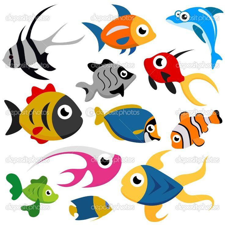 Fun Fish Silhouette Smiling Orange Small Gold Fish Cartoon Stock Vector 45028777 School