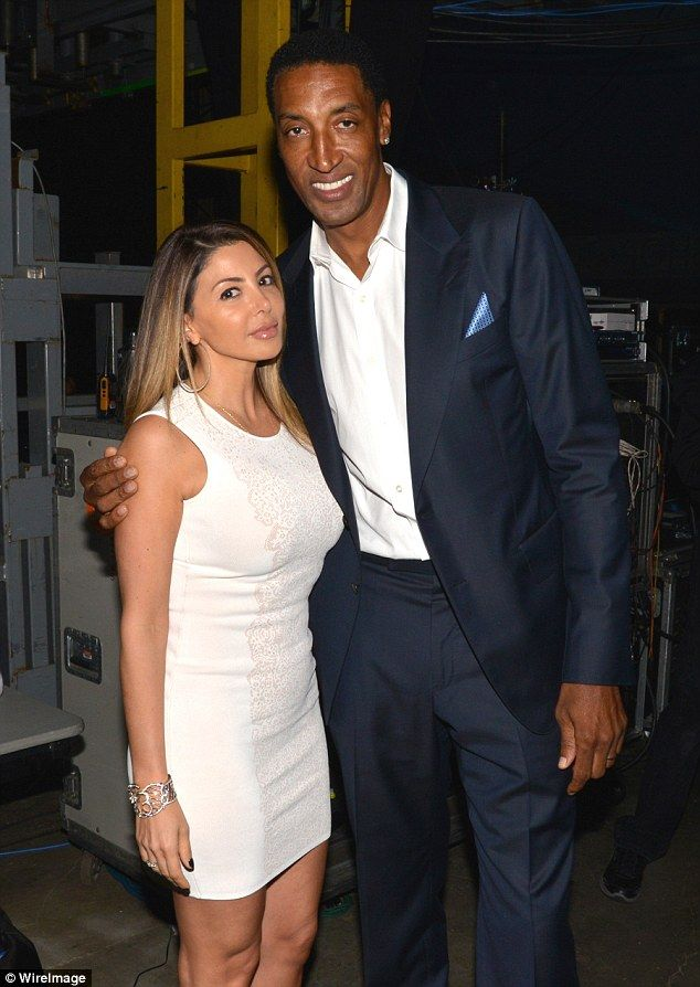 Done: Scottie Pippen has filed for divorce from his wife of almost 20 years, according to TMZ; here they are seen in February