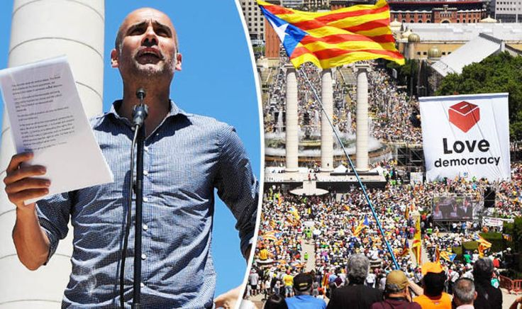 'We MUST vote' Pep Guardiola joins protestors in huge rally for Catalan independence