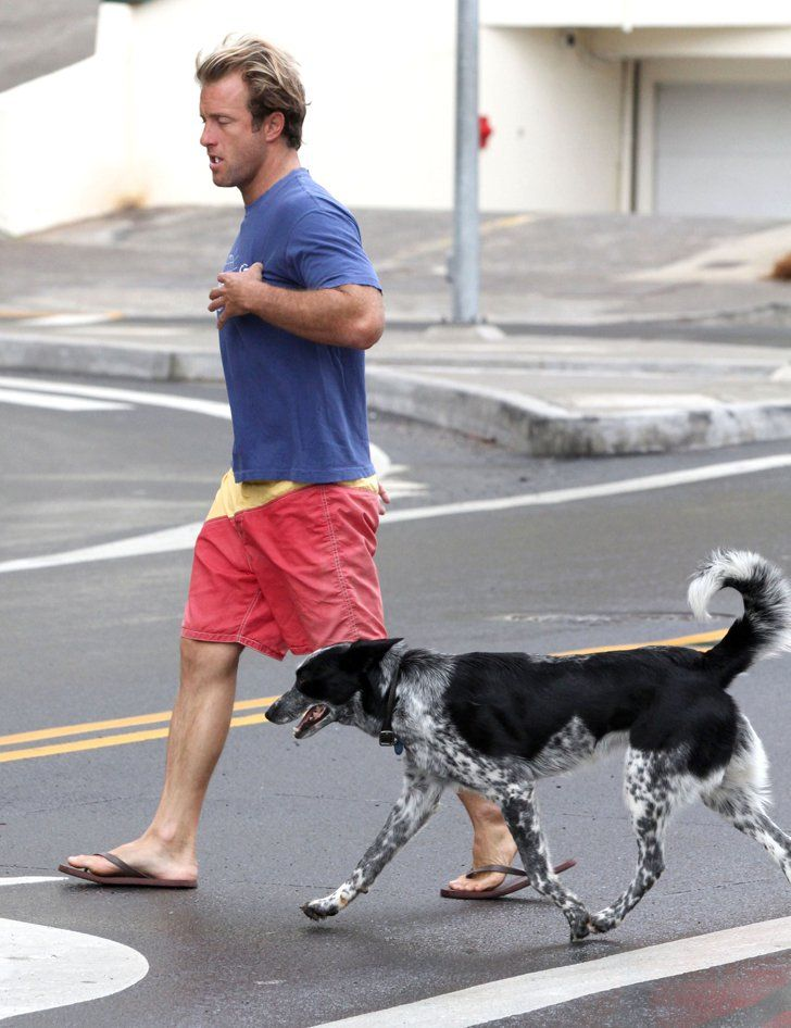 Pin for Later: Hot Hollywood Guys Are Even Hotter When Paired With Pups  Scott Caan's spotty pup, Dot, joined him on set in Hawaii in April 2011.