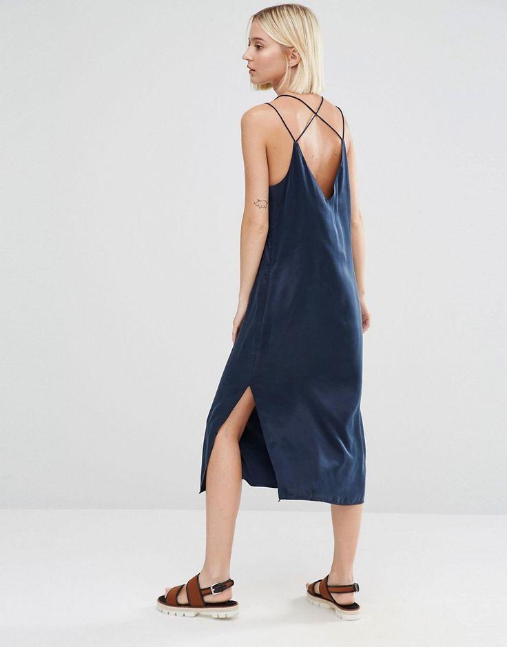 Selected Sinca Slip Dress in Sandwashed Silk