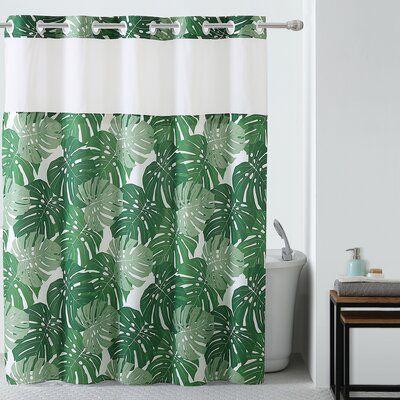 Bay Isle Home Palm Leaf 2-teiliges Duschvorhang-Set mit Peva Liner  – Products
