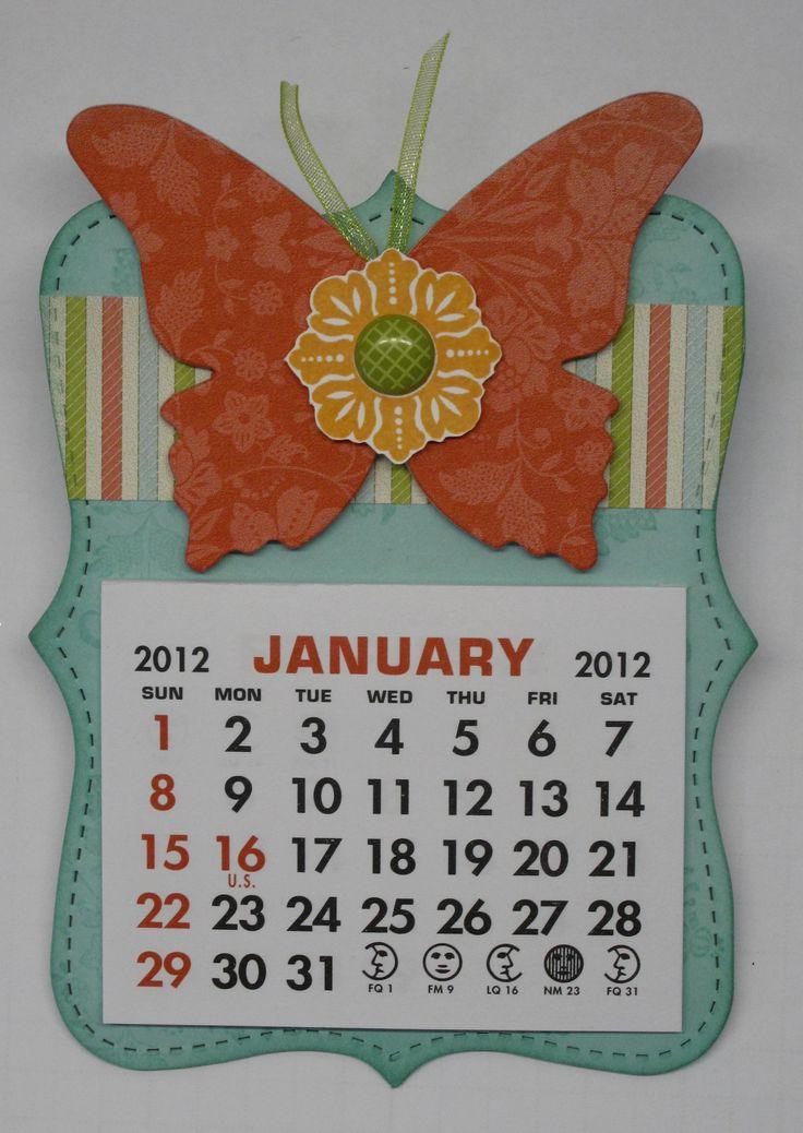 calendar idea using top note beautiful butterflies die