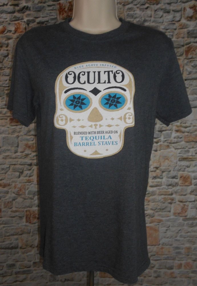 OCULTO Agave Infused Beer Tequila Sugar Skull Grey T-shirt Top Womens Sz Small #Anvil #GraphicTee