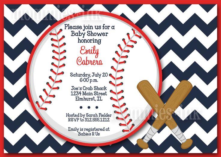 Chevron Baseball Baby Shower Invitation  PRINTABLE by MommiesInk, $12.50