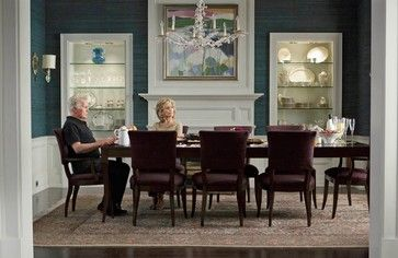 Grace And Frankie Dining Room Teal Grasscloth Shut The