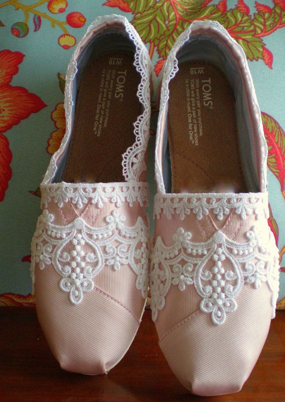 Lace Toms! Look like ornate points shoes