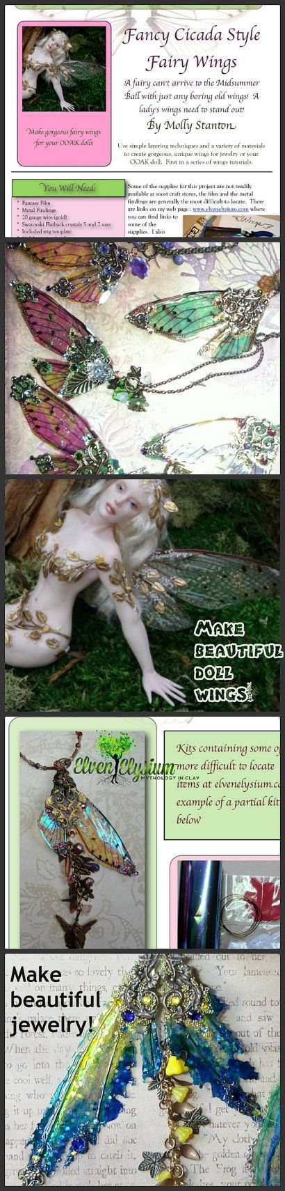 Your OOAK art dolls and fairy dolls will stand out from the crowd with this filigree fairy wings tutorial!  Use the tutorial to make beautiful fairy wing necklaces!  Step by step instructions make this project fun and take all the intimidation out of creating fancy wings!