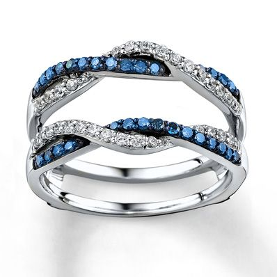 Blue/White Diamonds 1/2 ct tw Enhancer Ring 14K White Gold    if only i could find this in Emerald or green diamond..
