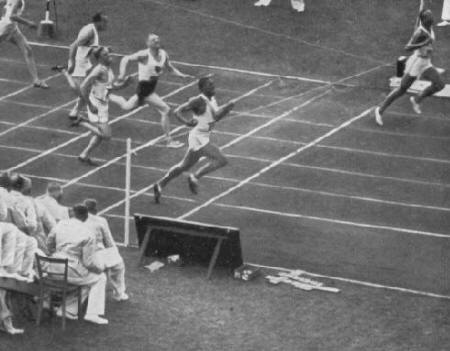 Jesse Owens (1913-1980) won four gold medals in Berlin. He won the 100-m dash in 10.3 sec, equaling the Olympic record; set a new Olympic and world record of 20.7 sec in the 200-m dash; and won the running broad jump with a leap of 26 ft 5 in., setting a new Olympic record. He was also a last minute replacement on the U.S. 400-m relay team, which set a new Olympic and world record of 39.8 sec.