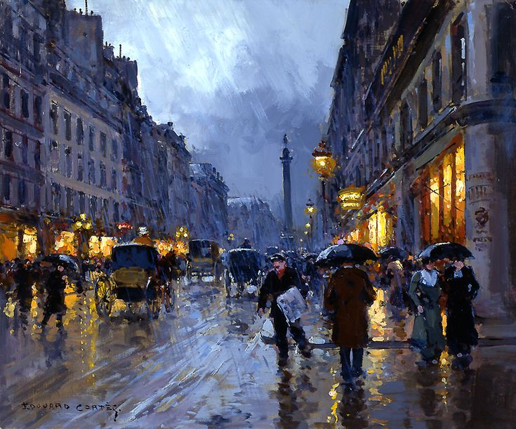 Edouard Leon Cortes – Paris II / Rue de la Paix, Place Vendome in the Rain / Oil on canvas / 18 x 21 1/2 inches