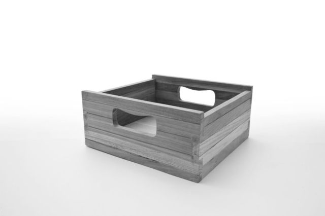 Box clever The solid teak boxes make storage that little bit more fun. On top, below, or both; any configuration works. In a kitchen we like to stash fresh vegetables and free-flowing herbs inside, or elsewhere in the home, children's toys or craft essentials.