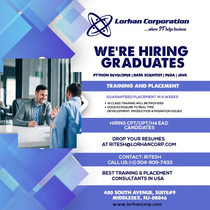 We are hiring fresh CPT/OPT/H4 graduates who are looking