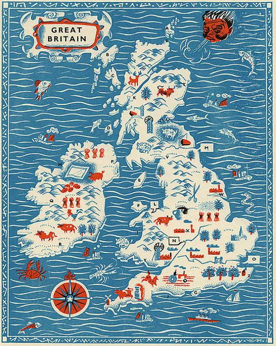 Vintage England Map Great Britain Antique by missquitecontrary, $25.00
