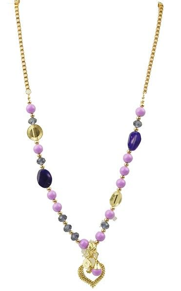 Necklace with gold coloured base and purple beading with a delightful heart on the bottom.