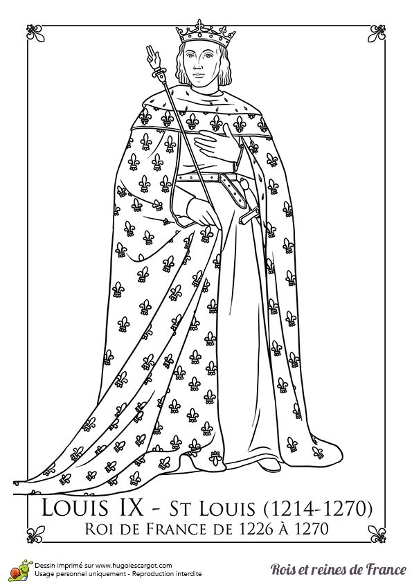 louis ix coloring coloriages