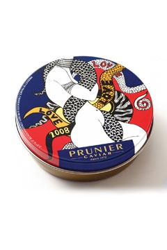 Prunier caviar with tin cover designs by Yves Saint Laurent