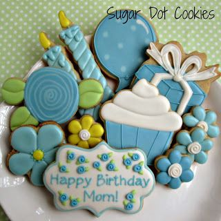 Happy Birthday Cookies~      By Sugar Dot Cookies, Blue flowers, cupcake, candles, birthday present, balloon