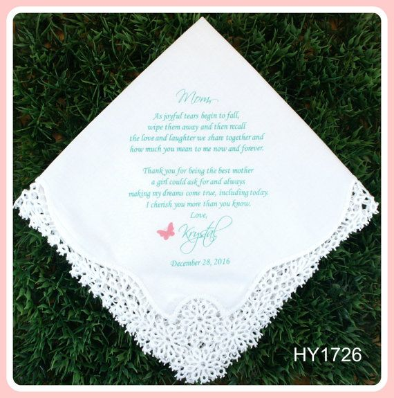 Mother of the Bride Handkerchief from the Bride-Wedding Hankerchief-PRINTED-CUSTOMIZED-Wedding Hankies-Butterfly-Mother of the Bride Gift