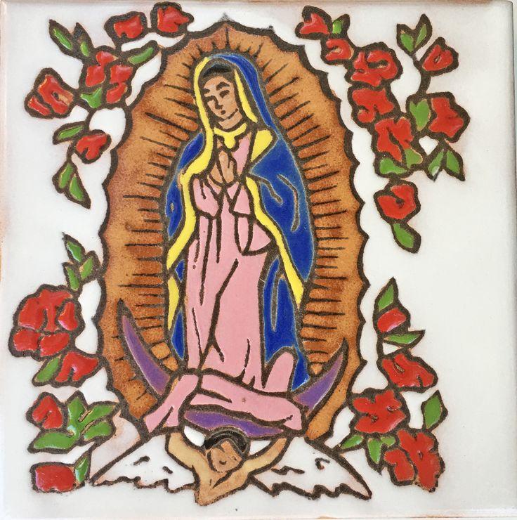 Southwestern Home Decor Ceramic Tile Kitchen Trivet Virgen de Guadalupe