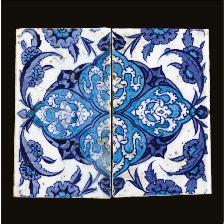 A pair of Iznik blue and white border tiles, Turkey, circa 1530-1540 | Lot | Sotheby's