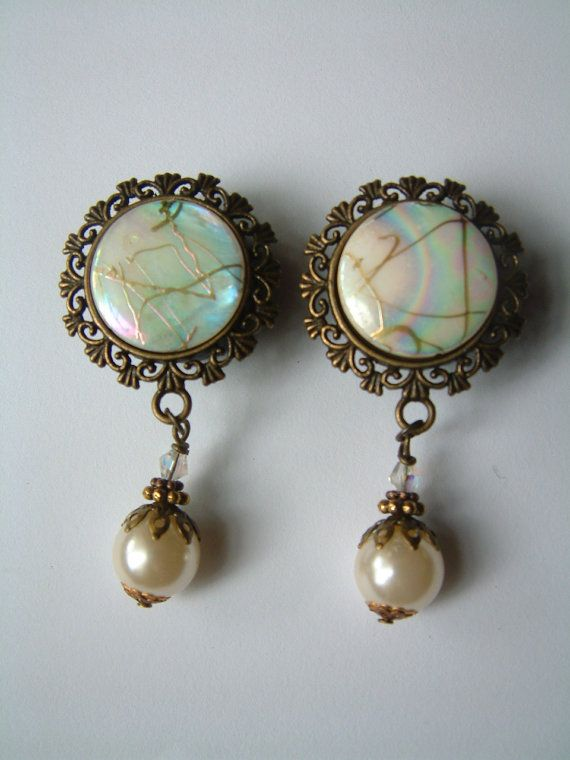 Mother of pearl wedding dangle Plugs For Stretched Ears size 18 mm or 20mm Hollywood staempunk. €19.99, via Etsy.