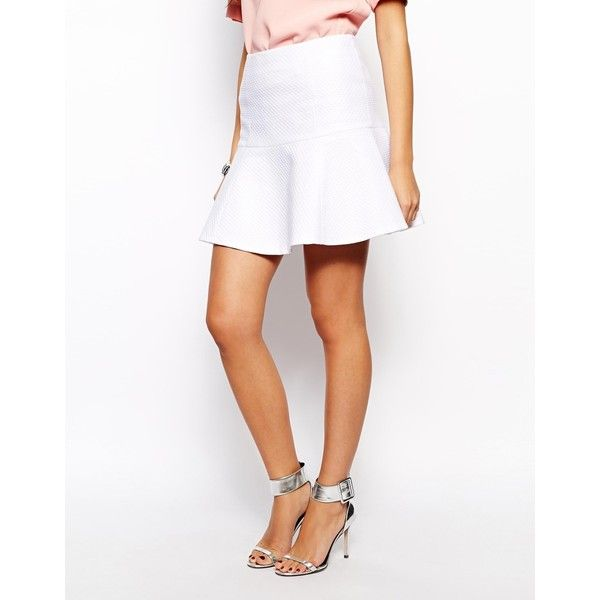 Ted Baker Sumna Skirt in Textured Fabric (€59) ❤ liked on Polyvore featuring skirts, high-waisted skirts, white high waisted skirt, white skirt, ted baker skirt and ted baker