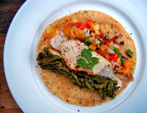 Fish Tacos with Yellow Tomato-Pineapple Salsa, Grilled Prickly Pear ...