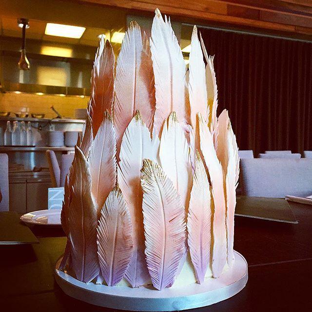 Ombré sparkle feather cake