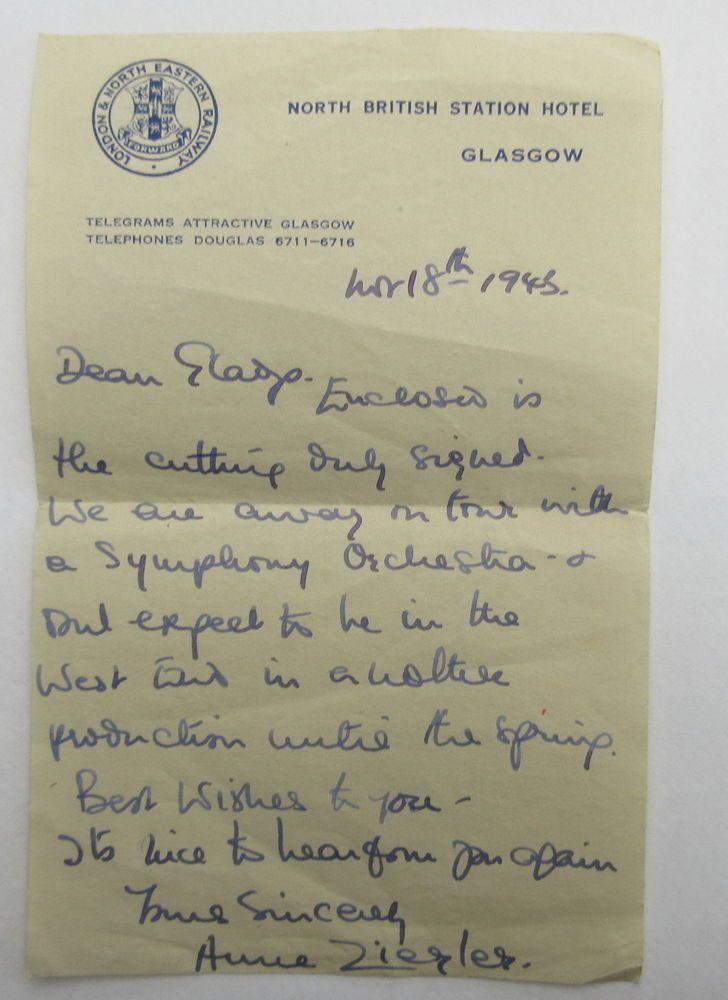 Anne Ziegler letter LNER North British Station hotel Glasgow letterhead 1946
