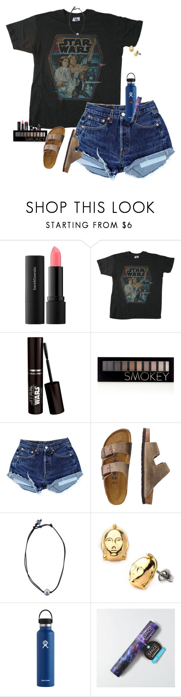 """May the force be with you"" by halledaniella ❤ liked on Polyvore featuring Bare Escentuals, Junk Food Clothing, Smashbox, Forever 21, TravelSmith, Kala, Hydro Flask and American Eagle Outfitters"
